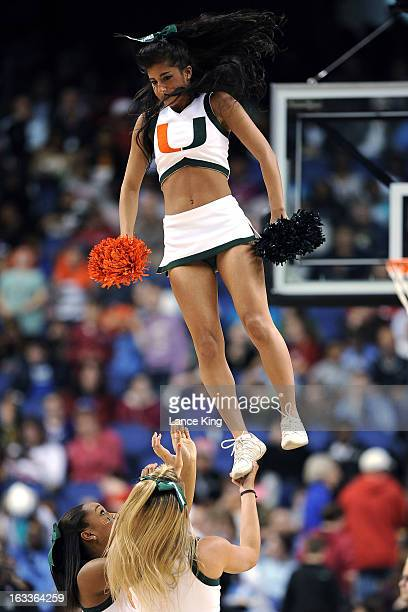 Cheerleaders of the Miami Hurricanes perform during a game against the Florida State Seminoles during the quarterfinals of the 2013 Women's ACC...