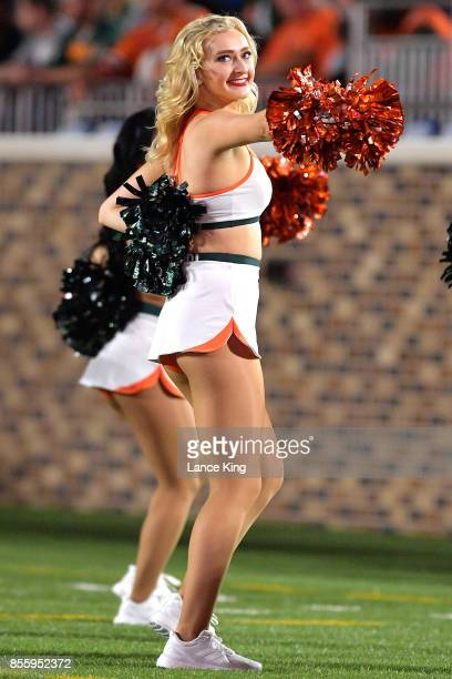 Cheerleaders of the Miami Hurricanes perform during the game against the Duke Blue Devils at Wallace Wade Stadium on September 29 2017 in Durham...