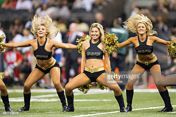 Cheerleaders of the New Orleans Saints perform during a game against the Tampa Bay Buccaneers at MercedesBenz Superdome on September 20 2015 in New...
