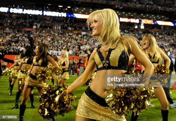 Cheerleaders of the New Orleans Saints perform during a game against the Indianapolis Colts in Super Bowl XLIV on February 7 2010 at Sun Life Stadium...