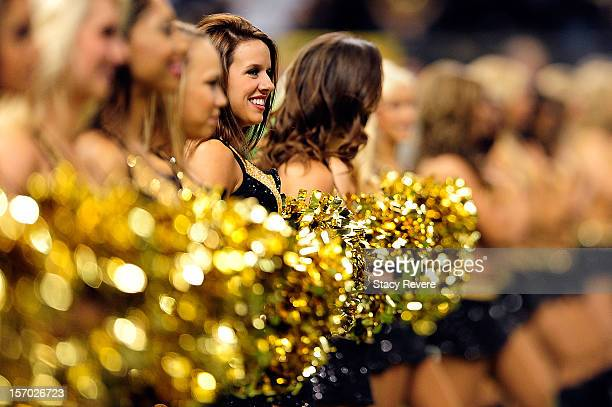 Cheerleaders of the New Orleans Saints prior to a game against the San Francisco 49ers at the MercedesBenz Superdome on November 25 2012 in New...