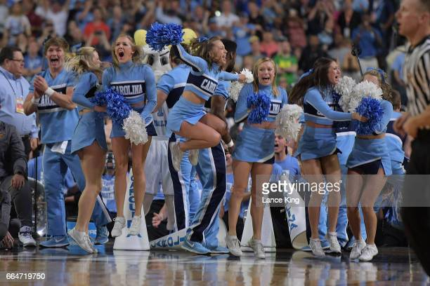 Cheerleaders of the North Carolina Tar Heels celebrate near the end of their game against the Gonzaga Bulldogs during the 2017 NCAA Men's Final Four...