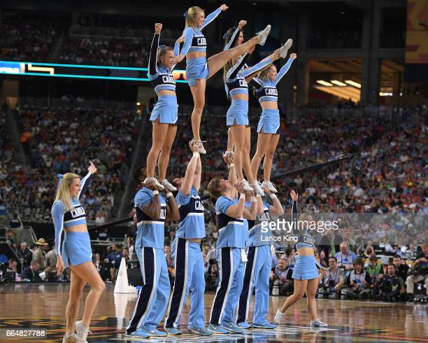 Cheerleaders of the North Carolina Tar Heels perform during the game against the Gonzaga Bulldogs during the 2017 NCAA Men's Final Four Championship...