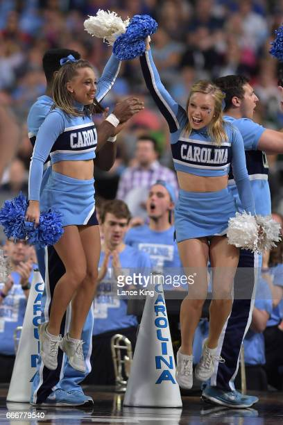 Cheerleaders of the North Carolina Tar Heels perform during their game against the Gonzaga Bulldogs during the 2017 NCAA Men's Final Four...