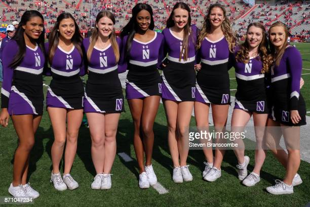 Cheerleaders of the Northwestern Wildcats pose before the game against the Nebraska Cornhuskers at Memorial Stadium on November 4 2017 in Lincoln...