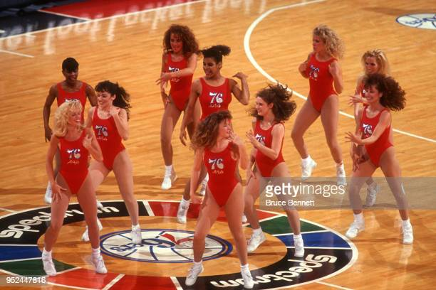 Cheerleaders of the Philadelphia 76ers dance on the court during the 1991 Eastern Conference Semifinals between the Chicago Bulls and Philadelphia...