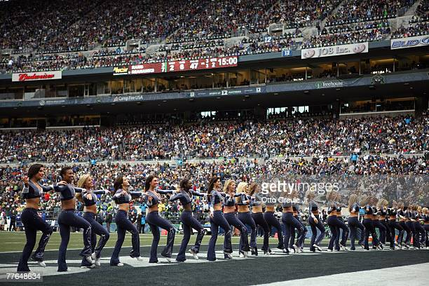 Cheerleaders of the Seattle Seahawks perform on the field during the game against the St Louis Rams at Qwest Field on October 21 2007 in Seattle...
