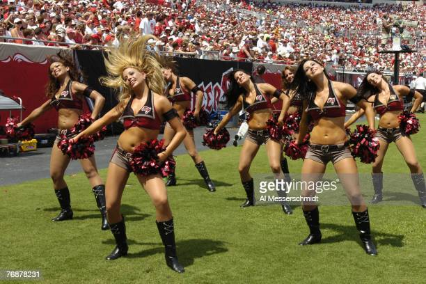 Cheerleaders of the Tampa Bay Buccaneers entertain during play against the New Orleans Saints in a weektwo NFL game on September 16 2007 in Tampa...