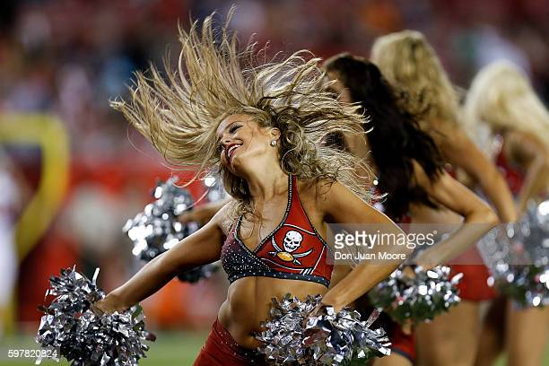 Cheerleaders of the Tampa Bay Buccaneers performs during a preseason game against the Cleveland Browns at Raymond James Stadium on August 26 2016 in...