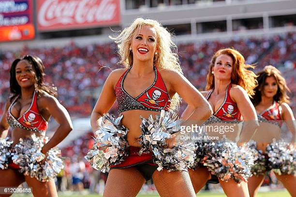 Cheerleaders of the Tampa Bay Buccaneers performs during the game against the Denver Broncos at Raymond James Stadium on October 2 2016 in Tampa...