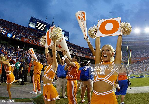 Cheerleaders of the Tennessee Volunteers try to get the fans into the game prior to taking on the Florida Gators at Ben Hill Griffin Stadium on...