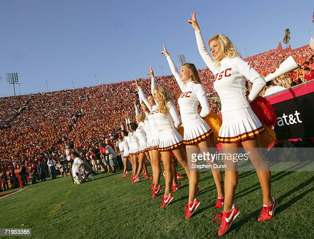 Cheerleaders of the USC Trojans perform on the sidelines during the game against the Nebraska Cornhuskers on September 16 2006 at the Los Angeles...