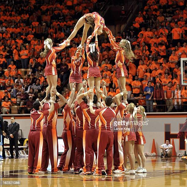 Cheerleaders of the Virginia Tech Hokies perform during a stop in play against the Duke Blue Devils at Cassell Coliseum on February 21 2013 in...