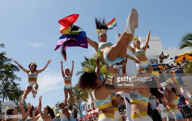 Cheerleaders participate in the Miami Beach Pride Parade along Ocean Drive on September 19, 2021 in Miami Beach, Florida. The annual event was...