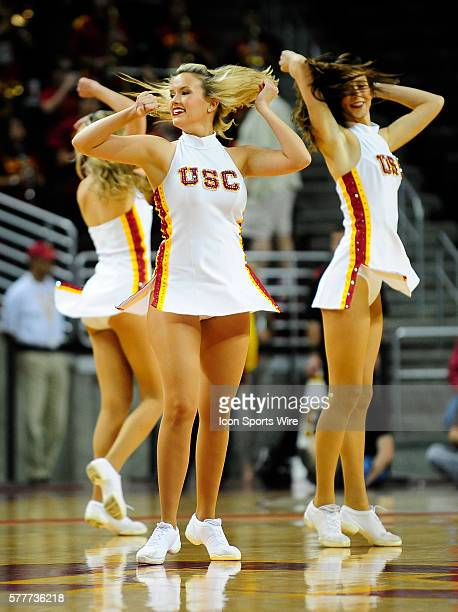 Cheerleaders perform a dance during a college basketball game at the Galen Center in Los Angeles CA during a game between Tennessee and USC