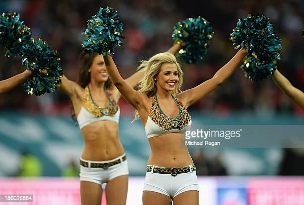 Cheerleaders perform ahead of the NFL International Series game between San Francisco 49ers and Jacksonville Jaguars at Wembley Stadium on October 27...