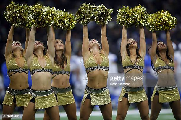 Cheerleaders perform during a game between the New Orleans Saints and the Detroit Lions at the MercedesBenz Superdome on December 4 2016 in New...