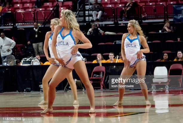 UCLA cheerleaders perform during a NCAA Div 1 Women's championship first round game between the Tennessee Lady Vols and UCLA Bruins on March 23 at...