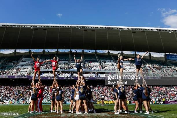 Cheerleaders perform during half time at the College Football Sydney Cup match between Stanford University and Rice University at Allianz Stadium on...