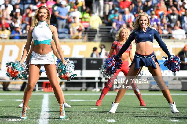 Cheerleaders perform during the 2020 NFL Pro Bowl at Camping World Stadium on January 26 2020 in Orlando Florida