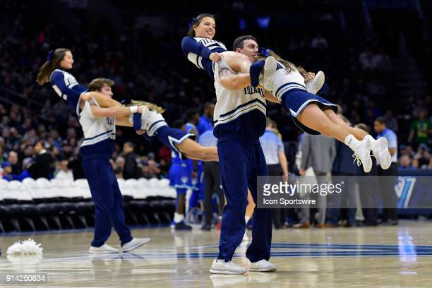 Cheerleaders perform during the college basketball game between the Seton Hall Pirates and the Villanova Wildcats on February 04 2018 at the Wells...