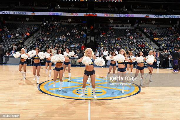 Cheerleaders perform during the game between the Denver Nuggets and the Phoenix Suns on February 25 2015 at the Pepsi Center in Denver Colorado NOTE...