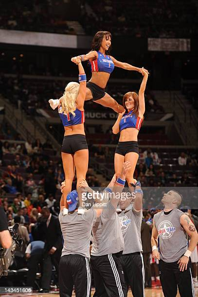 Cheerleaders perform during the game between the Detroit Pistons and the Philadelphia 76ers on April 26 2012 at The Palace of Auburn Hills in Auburn...