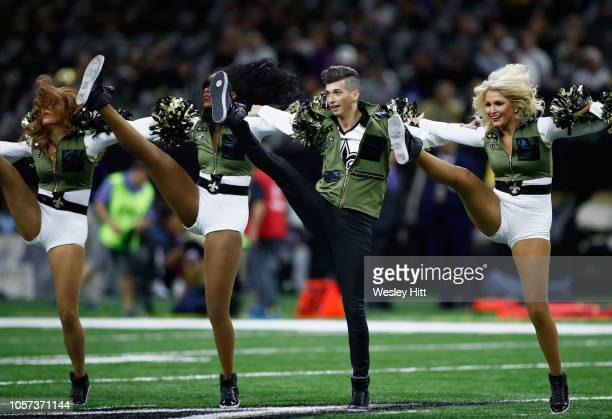 Cheerleaders perform during the game between the New Orleans Saints and the Los Angeles Rams at MercedesBenz Superdome on November 4 2018 in New...