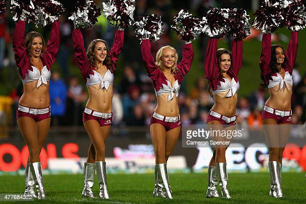 Cheerleaders perform during the round 15 NRL match between the Manly Sea Eagles and the Wests Tigers at Brookvale Oval on June 19 2015 in Sydney...