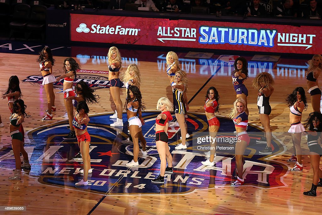 NBA cheerleaders perform during the Sears Shooting Stars Competition 2014 as part of the 2014 NBA All-Star Weekend at the Smoothie King Center on February 15, 2014 in New Orleans, Louisiana.