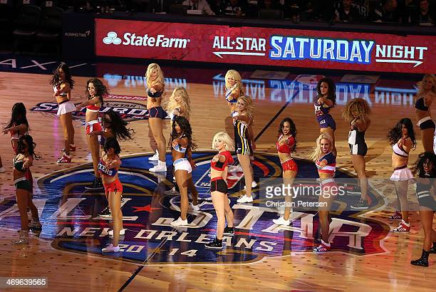 NBA cheerleaders perform during the Sears Shooting Stars Competition 2014 as part of the 2014 NBA AllStar Weekend at the Smoothie King Center on...