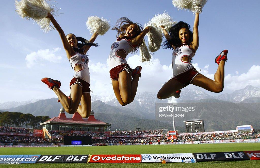 IPL cheerleaders perform for the Delhi  : News Photo