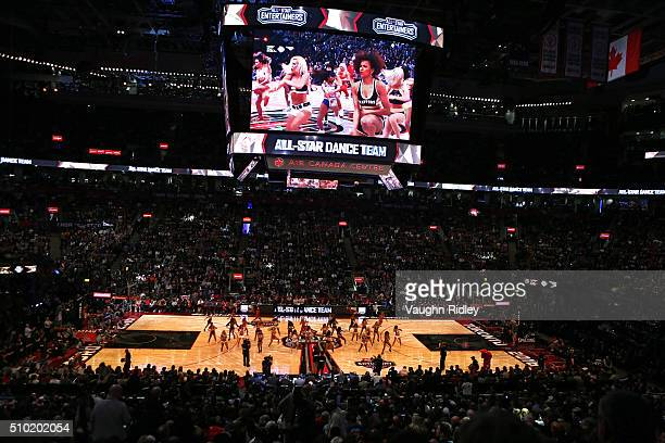 NBA cheerleaders perform in the Foot Locker ThreePoint Contest during NBA AllStar Weekend 2016 at Air Canada Centre on February 13 2016 in Toronto...