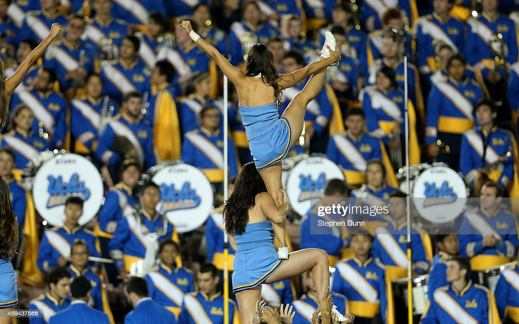 UCLA cheerleaders perform in the game between the UCLA Bruins and the USC Trojans at the Rose Bowl on November 22, 2014 in Pasadena, California. UCLA on 38-20.