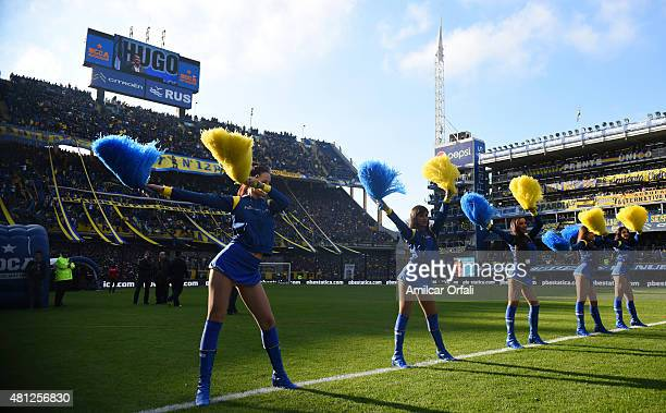 Cheerleaders perform prior a match between Boca Juniors and Quilmes as part of 17th round of Torneo Primera Division 2015 at Alberto J Armado Stadium...