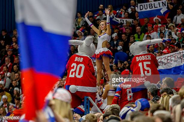 Cheerleaders perform with mascots Bob and Bobek during the IIHF World Championship group B match between Russia and USA at CEZ Arena on May 4 2015 in...