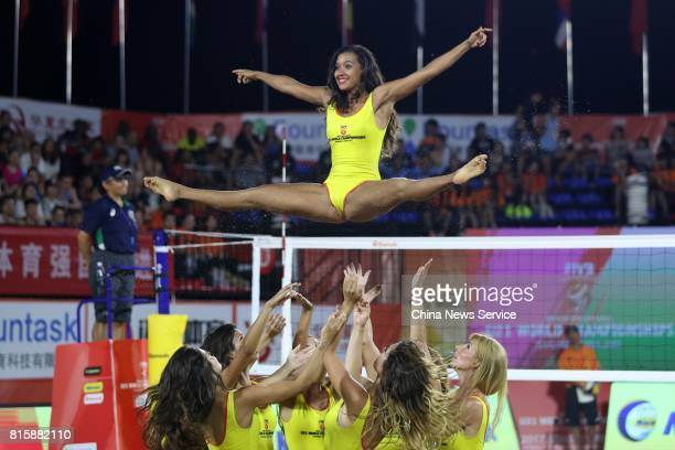 Cheerleaders play a performance during a time break of the women's final match between Eduarda Santos Lisboa and Ana Patricia Silva Ramos of Brazil...