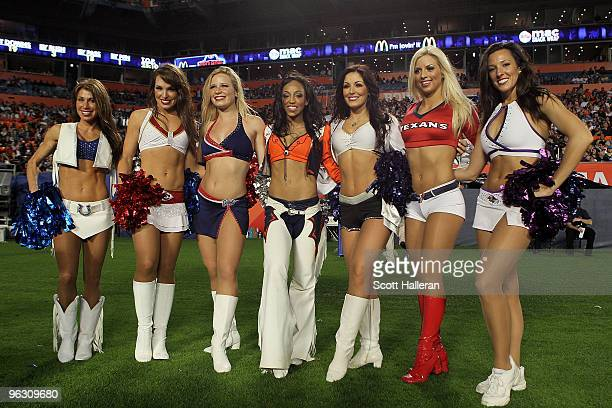 Cheerleaders pose during the 2010 AFCNFC Pro Bowl at Sun Life Stadium on January 31 2010 in Miami Gardens Florida