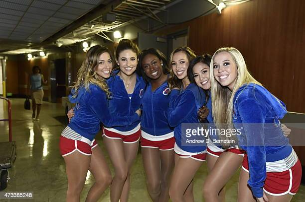 Cheerleaders pose for a photo before in Game Six of the Western Conference Semifinals between the Los Angeles Clippers and the Houston Rockets during...