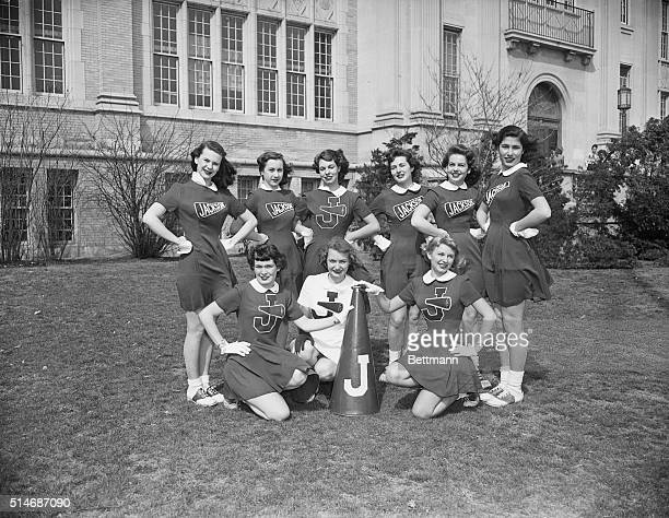 Cheerleaders posing for photograph Undated Photo