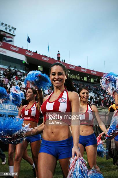 Cheerleaders prior to the 2010 FIFA World Cup South qualifier between Paraguay and Argentina at the Defensores del Chaco Stadium on September 9 2009...