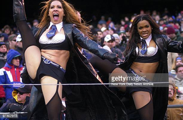 Cheerleaders provide some extra kicks for fans at clash between the XFL's New YorkNew Jersey Hitmen and the Birmingham Thunderbolts in the XFL...