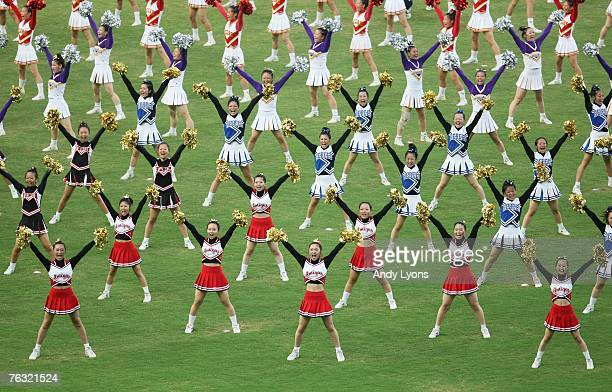 Cheerleaders put on a show at the opening ceremony held on day one of the 11th IAAF World Athletics Championships on August 25 2007 at the Nagai...