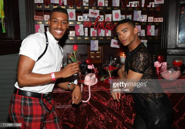 Cheerleaders Quinton Peron and Napoleon Jinnies attend GALORE X The Creme Shop Celebrate The Romance Issue Presented by Les Amis at No Vacancy on...