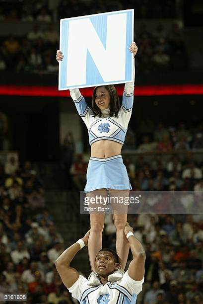 Cheerleaders support the University of North Carolina at Chapel Hill Tar Heels against the Air Force Falcons during the NCAA Division I Men's...