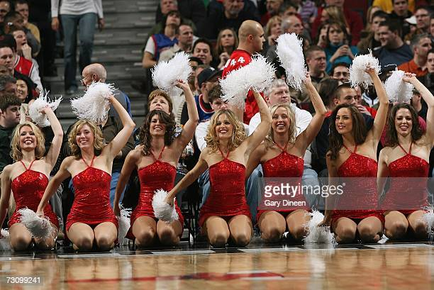 Cheerleaders with the Chicago Bulls perform during the game against the Detroit Pistons at the United Center on January 6 2007 in Chicago Illinois...