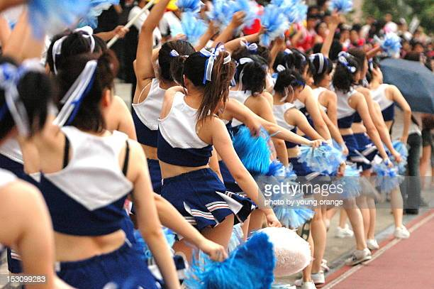 cheerleading women - asian cheerleaders stock photos and pictures