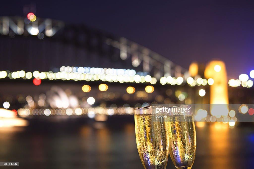 Cheers! champagne at night : Stock Photo