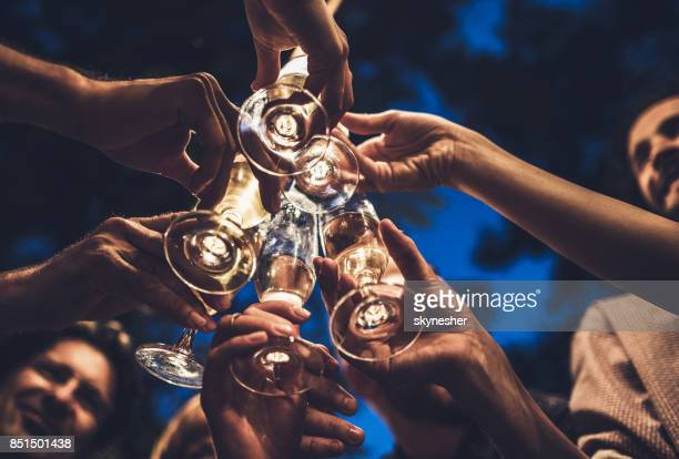cheers dear friends! - champagne stock pictures, royalty-free photos & images