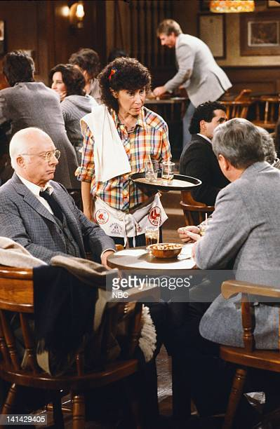 """Cheers"""" Episode 24 -- Pictured: Norman Lloyd as Dr. Daniel Auschlander, Rhea Perlman as Carla Tortelli -- Photo by: Gary Null/NBCU Photo Bank"""
